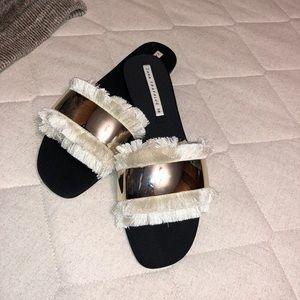 Zara Slippers With White Fringe